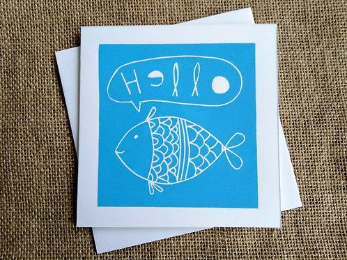 Hello Fish Linocut Card