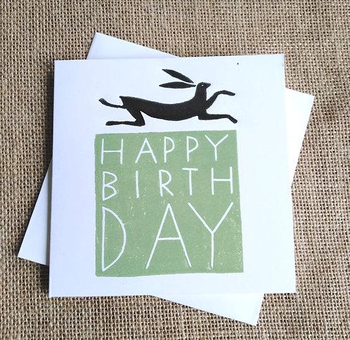 Green Hare Happy Birthday Card