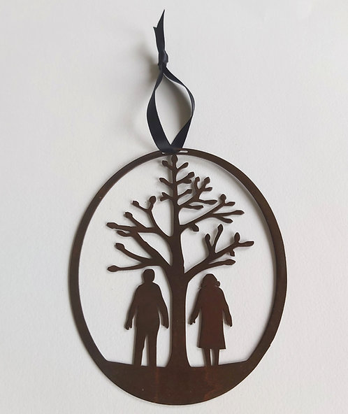 Bronze Couple Round Hanging Decoration