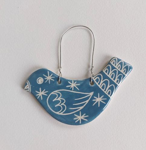 Hanging Bird Decoration Blue