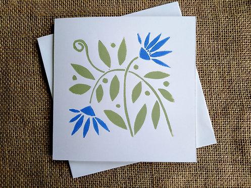 Elegant Flowers Linocut Card