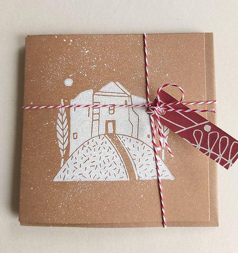 Pack of 3 Handmade Snowy Cliffords Tower Cards