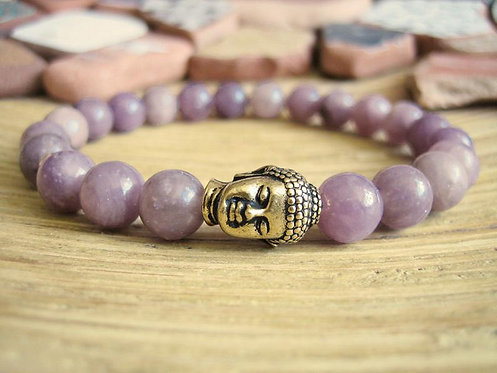 Lavender Jade Buddha Bracelet