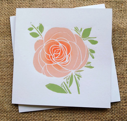 Apricot Rose Linocut Card