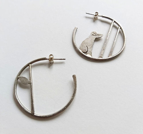 Edge of the Woods, Badger Hoop Earrings