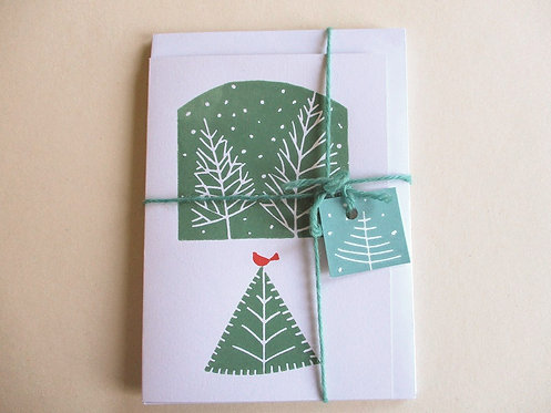 Pack of 3 Handmade Christmas Cards - Winter Trees