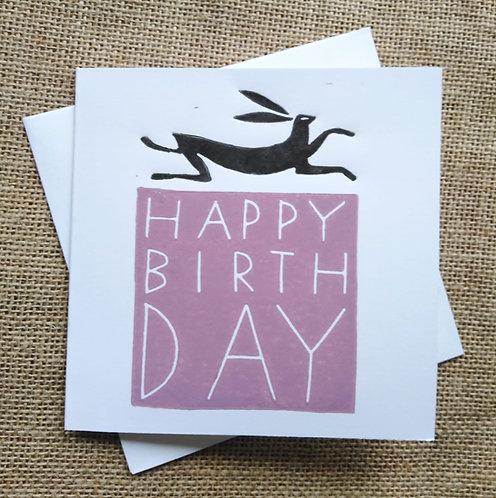 Pink Hare Happy Birthday Card