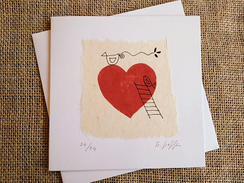 Ladder To My Heart Limited Edition of 24 Linocut Card