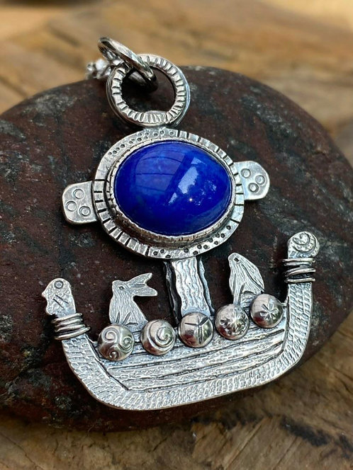 *SOLD* Little Hare Viking Ship Necklace (LH5)