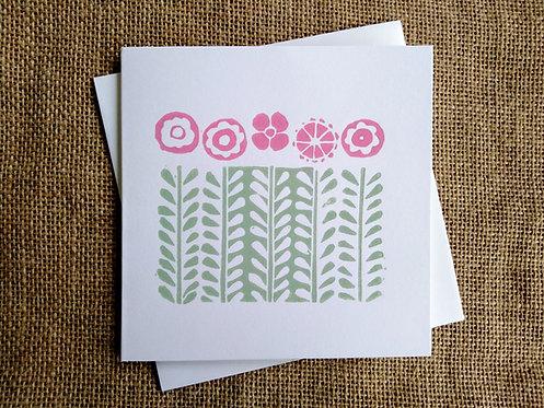 Flower Meadow Linocut Card