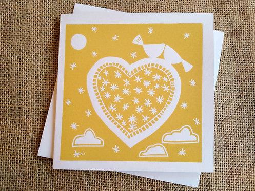 Yellow Love Birds Linocut Card