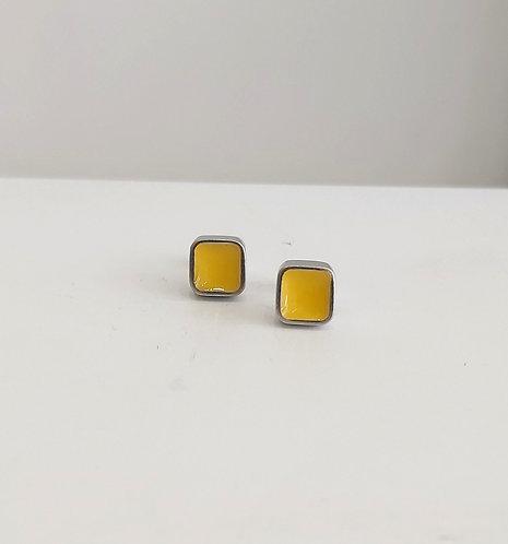 Yellow Colour Block Studs (EC118Y)