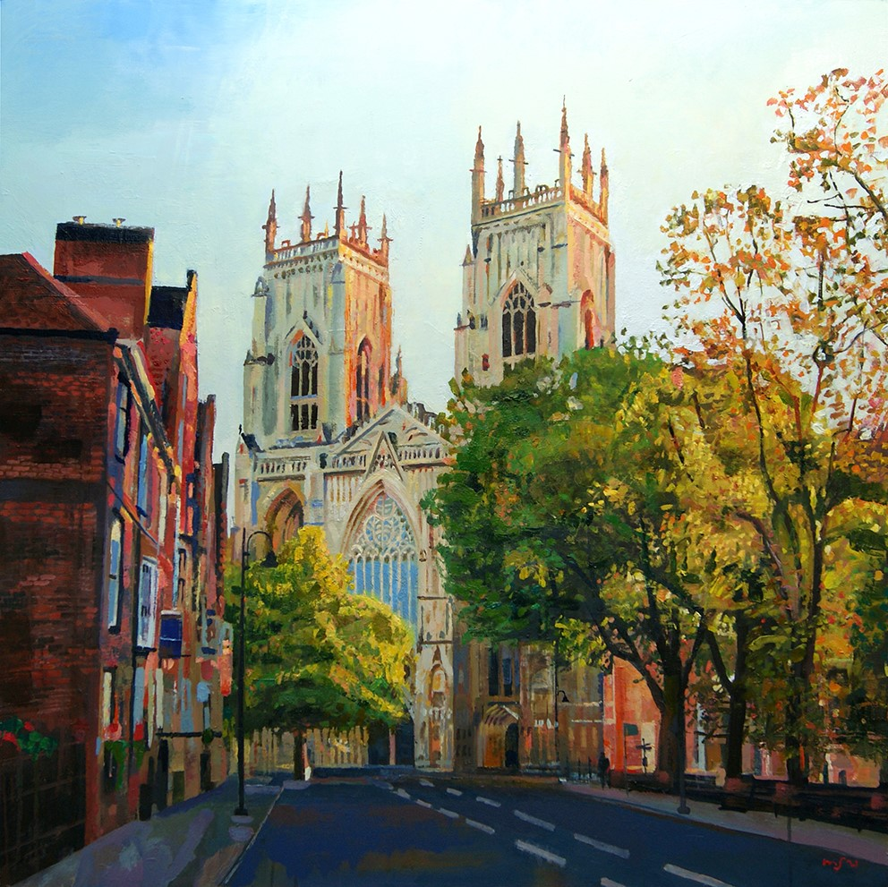 York Minster, ,90cm x 90cm, Mixed media