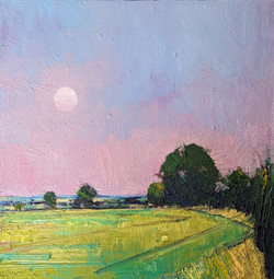 Emerson Mayes - Full Moon, Late Summer, oil on board, 29x29cm, £975 - Copy