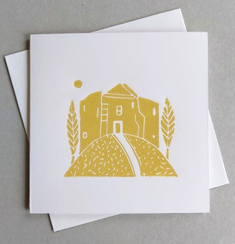 Cliffords Tower Linocut Card