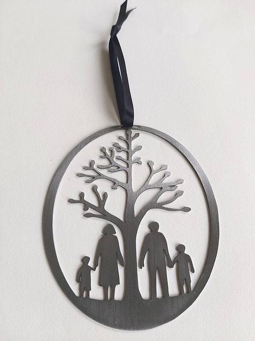 Silver Family Round Hanging Decoration