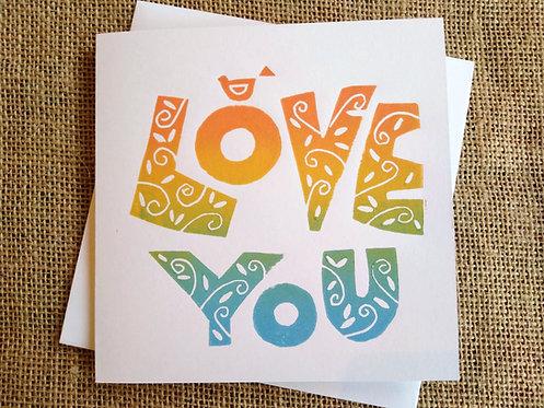Love You Linocut Card