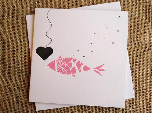 Pink Fish Love Heart Linocut Card
