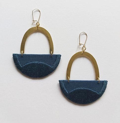 Embroidered Linnea Earrings, Indigo (nn7)