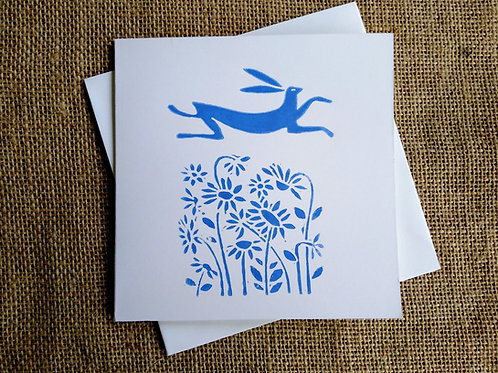Leaping Hare Linocut Card