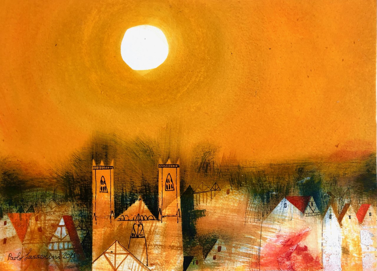 York Midday Sun, mixed media, 24 x 33 cm