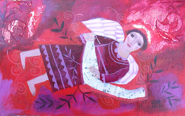 Sharon Winter-acrylic-Angel with Music-a