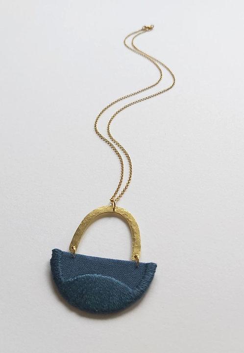 Embroidered Linnea Necklace, Indigo (nn6)