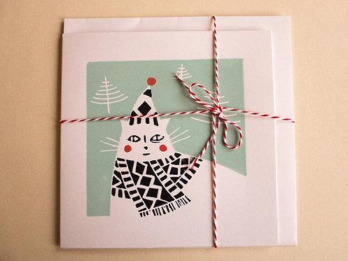 Handmade Christmas Card - White Cosy Cat