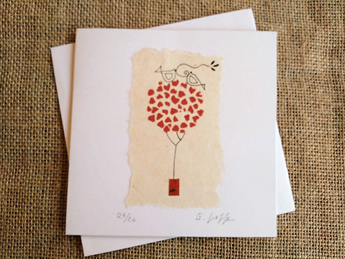 Love Tree Limited Edition of 24 Linocut Card
