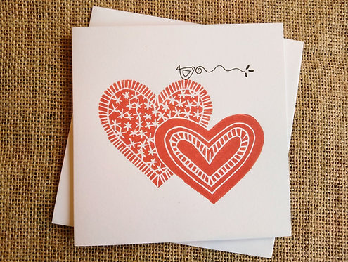 Red Hearts Linocut Card