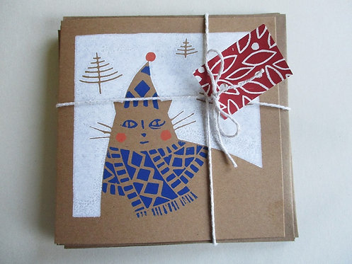 Pack of 3 Handmade Christmas Cards - Cosy Cat
