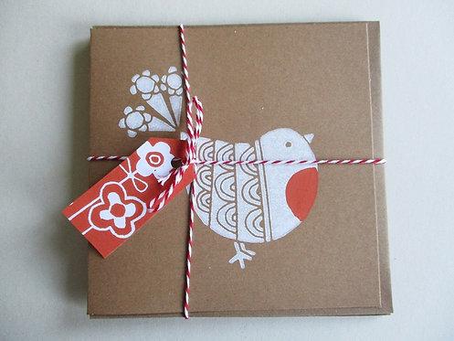 Pack of 3 Handmade Christmas Cards -Robin