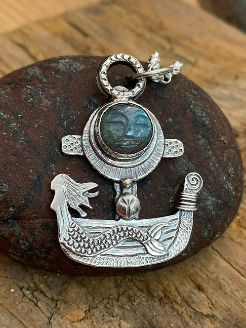 Moon Flower Viking Ship Necklace (LH2)