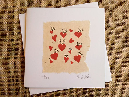 Tiny Birds with Tiny Hearts Limited Edition of 24 Linocut Card