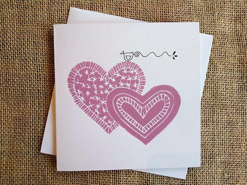 Pink Hearts Linocut Card