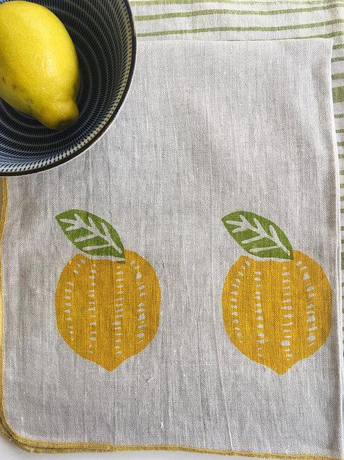 Lemon Linen Tea Towel