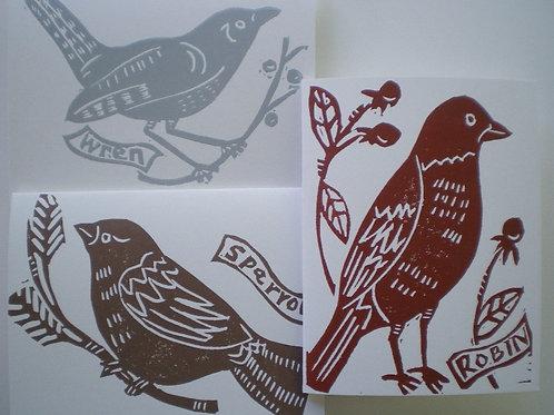 Winter bird card set
