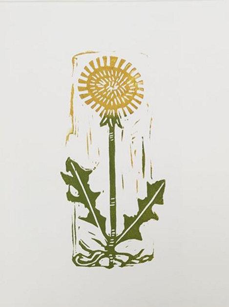 Dandelion original block print