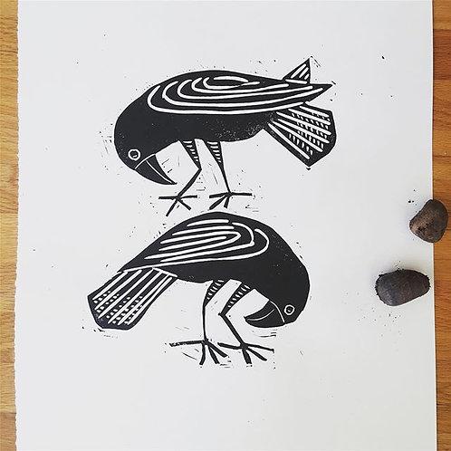 Crows Searching original block print