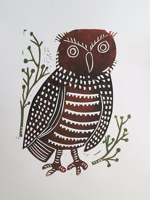 Owl original block print art