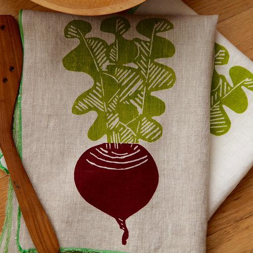 Beet Linen tea towel