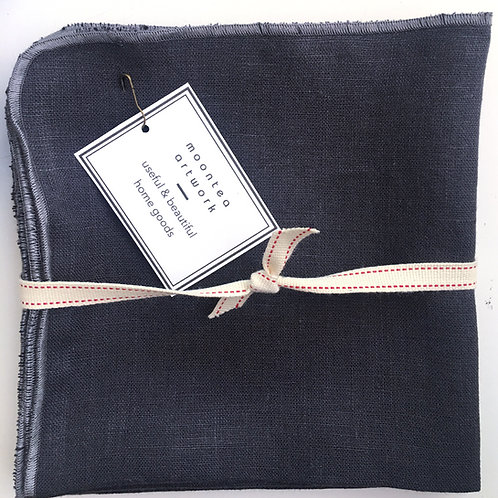 Very Dark Blue Linen Napkins