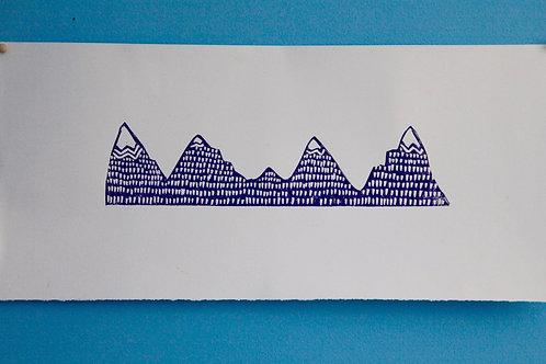 Mountains Original Block Print