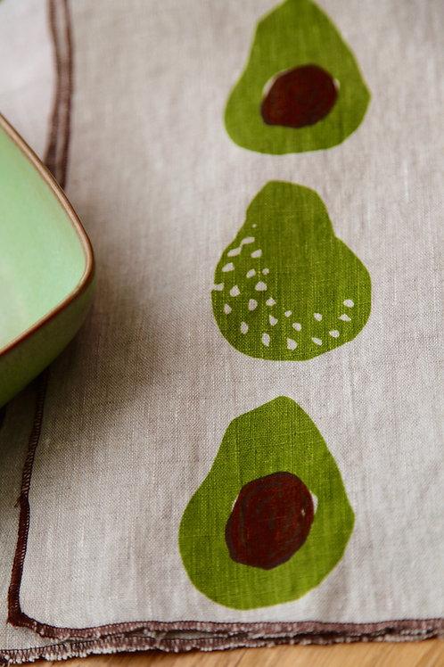 Avocado Linen tea towel