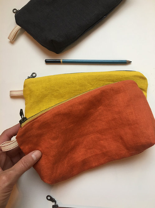 Colorful linen pencil/make-up pouch