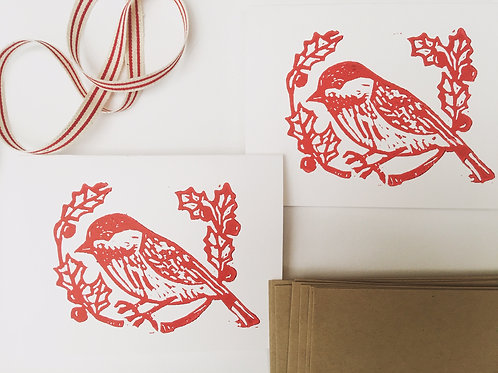 Chicadee Bird Card set