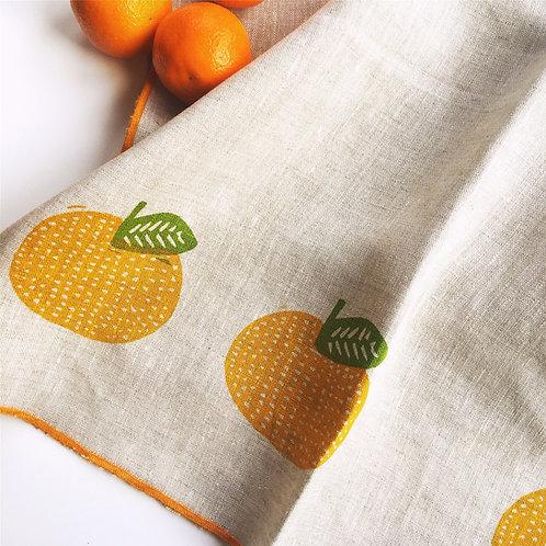Tangerine Linen Tea Towel