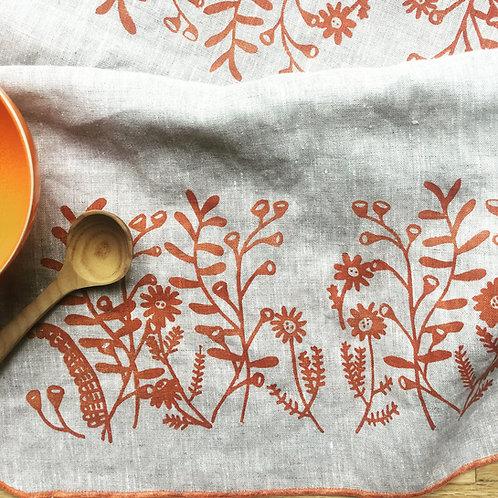 Floral Linen Tea Towel