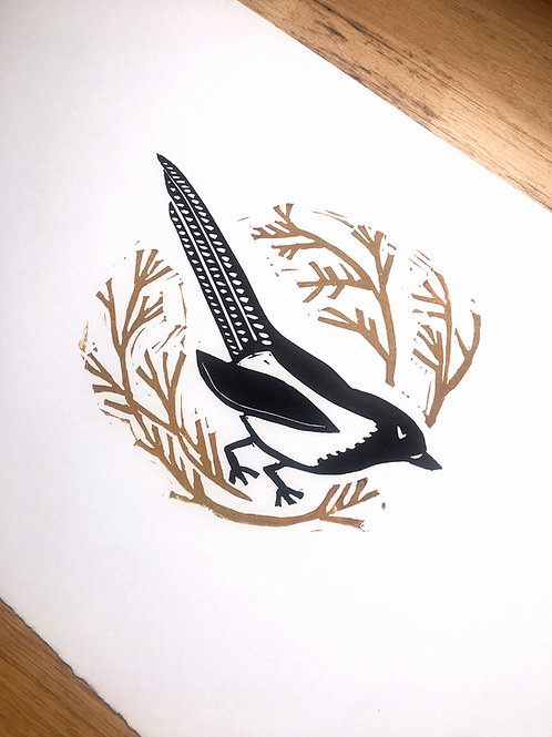 Magpie original block print art