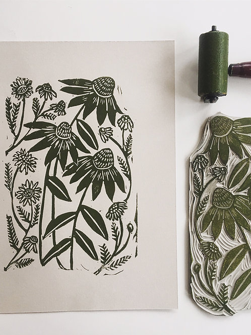 Block Print Flowers- Echinacea and Chamomile